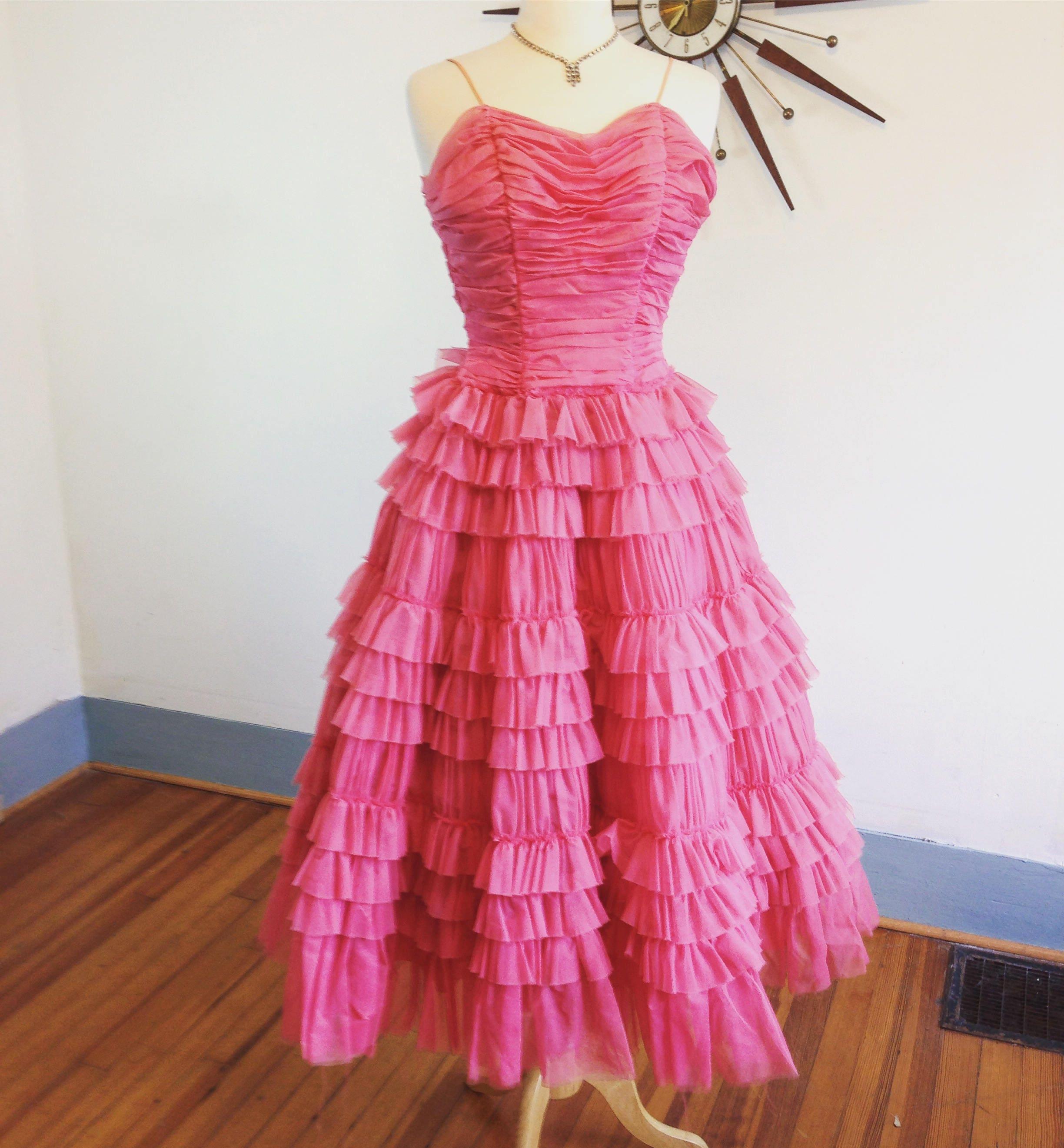 Vintage 50s dress, Pink Chiffon Dress, Cupcake dress, layered dress ...