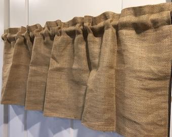 Natural Burlap Valance Curtain - choose your width
