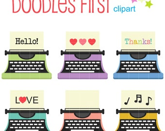 Colorful Typewriters Digital Clip Art for Scrapbooking Card Making Cupcake Toppers Paper Crafts