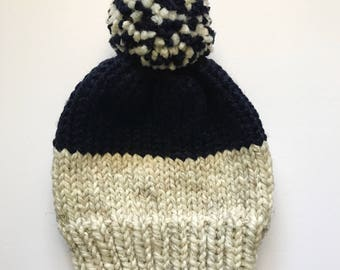 Color Block Knit Hat // Oatmeal and Navy