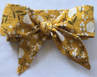 Floral Head Wrap Bow, Mustard and Navy Head wrap Bow, Baby Head wrap Bow, Baby Headwrap Bow, Girls Headwrap Bow, Girls Head Wrap Bow
