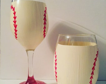 Baseball Wine Glass