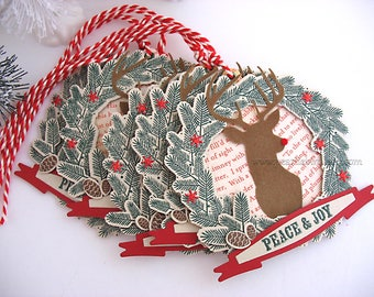 Christmas gift tags~Farmhouse Holiday Rudolph Wreath Deluxe Gift Tags~set of 5~peace and joy~Woodland Style~Cottage Style