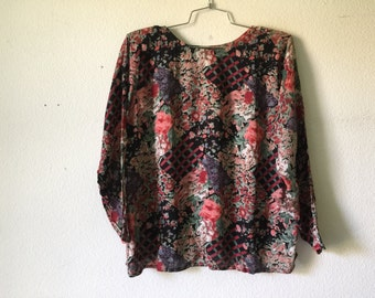 Vintage Blouse - Pullover Floral Earthy Print Top
