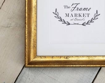Xaiver Antique Gold 3/4'' Wood Picture Frame with White Mat 8x10, 9x12, 11x14, 14x16, 16x20 Custom Standard and custom sizes available.