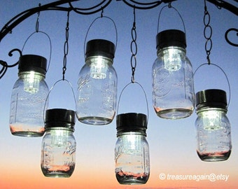 Outdoor Event Lighting Mason Jar Solar Lights Wedding Lights, Hanging Lanterns for Parties, Garden or Events 6 Silver Lights,  no jars