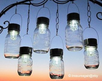 Outdoor Event Lighting Mason Jar Solar Lights Wedding Lights, Hanging Lanterns for Parties, Garden or Events 6 Silver Lights,  no jars