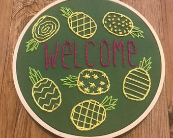 Welcome with Pineapples - 5 Inch Embroidery Hoop