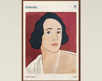 """Virginia Woolf """"Orlando"""" - Literary Book Cover Print Large, Classic Literature Poster, Bookish Gift, Feminist Art, Instant Download"""