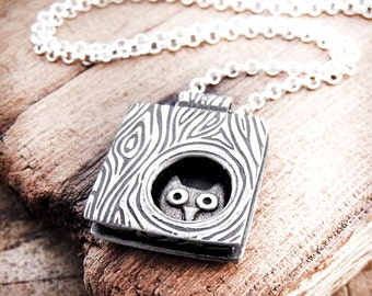 Sterling silver owl necklace, owl in a tree, made to order