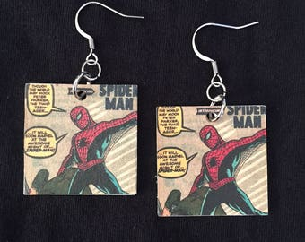 Upcycled Classic Spider-Man Comic Book Earrings For The Nerdy Girl