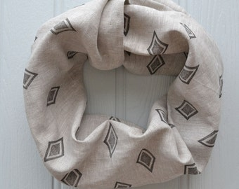 Geometric block printed infinity loop linen scarf