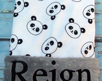 Panda Blanket, Baby Gift, Baby Shower Gift, Personalized Baby Blanket, Baby Blanket, Blanket, Girl Blanket, Minky Blanket, Embroidered