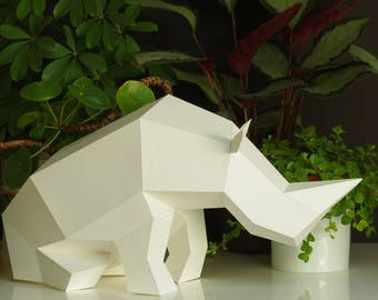 Sitting Rhino Paper Sculpture DIY papercraft set, foldable paper animal, Paperwolf geometric polygon look, animal cardboard statuette