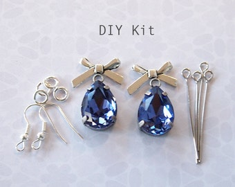 Earring Kit DIY Glass Rhinestone Drops and Silver Tone Bows Includes Rhinestones And Components Colour Tanzanite