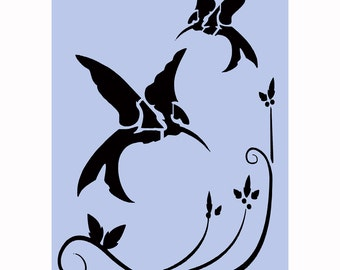 Birds Stencil - Birds A4 (8' x 11.5') Hummingbird Stencil for Furniture Painting Projects, Glass, Walls, Signs 039