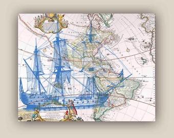 Blue frigate sailboat Print, 11X14 print, old map America print,  Marine  Nautical art, Coastal Living, beach cottage decor