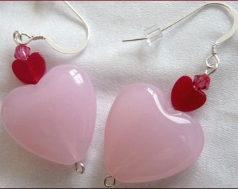 I Love You Earrings -- Red Jade, Pink Glass Hearts and Swarovski Crystals on Sterling Silver -- Free US Shipping and Free Gift Pouch