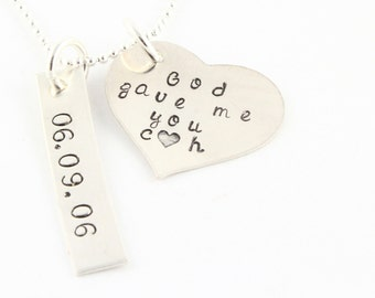 God Gave Me You Necklace - Wedding Anniversary Necklace With Date - Custom Mother's Heart Necklace - Personalized Necklace - Gift for Mother