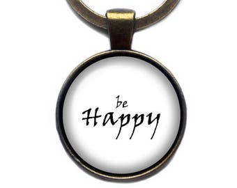 Be Happy Keychain Keyring