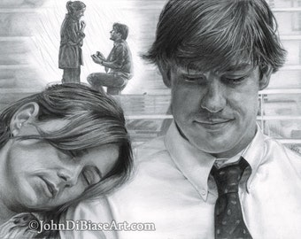 "Drawing Print of Jim and Pam from ""The Office"" (Jenna Fischer and John Krasinski)"