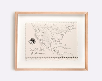 United States if America Map Illustration Print