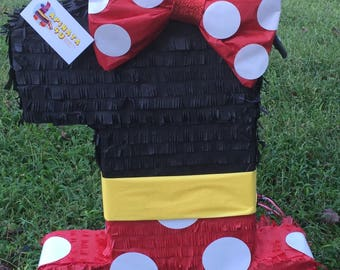 Large Red Black & Yellow Number One Pinata with Bow