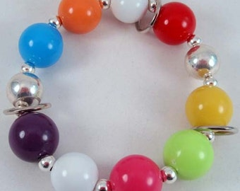 Goody Gumballs Bracelet.. Chunky Bangle Bracelet in Hot Pink, Lime Green, Turquoise Blue, White, Yellow, Orange, Red, Purple