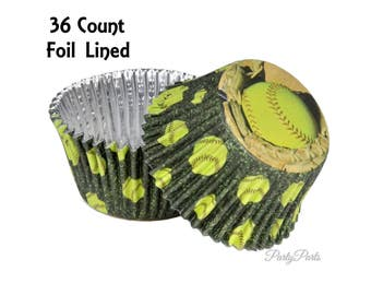 Softball cupcake liners, Fastpitch party decorations, 36CT, foil, Graduation party ideas, Girls sports, team banquet, players birthday