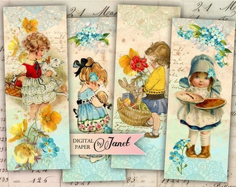 the little stories - set of 6 bookmarks - digital collage - Printable Download