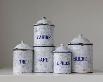 Vintage kitchen Canisters, French country canister set, Graniteware canisters, French Flea market, Brocante style, Rustic French canisters
