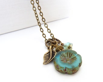 Aqua Blue Hawaiian Flower Charm Necklace - Picasso Glass Floral Bead - Antique Bronze Leaf - Boho Necklace - Charm Jewelry