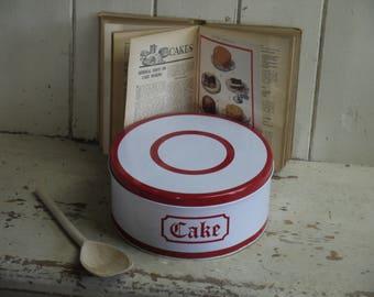 Vintage Cake Tin - Red and White Cake Tin - Regency Ware Cake Tin - Kitchen Canister - Kitchen Canisters - Vintage cake tin