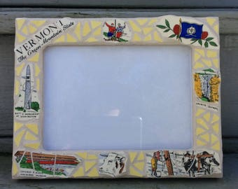 Mosaic Picture Frame, Vermont, made from a vintage souvenir plate