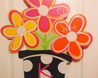 Colorful Pink/Yellow/Orange Flower Pot Spring/Summer Door Hanger