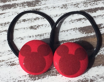 Red Mickey Mouse Hair Tie,  Mickey Ponytail Holder, Stocking Stuffer Disney, Mickey Hair Clip, Mickey Barrette,  Mickey Mouse Birthday Favor