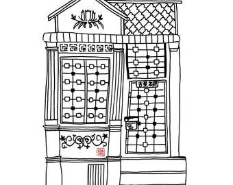 Printable art - Singapore shophouse/ hand drawn/ sketch/ illustration/ colouring/ peranakan/ nonya/ architecture/ building/ singaporean