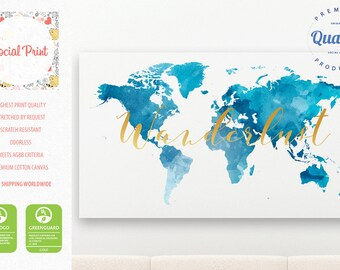Custom canvas map etsy world map wanderlust canvas print blue watercolor free shipping home decor custom world gumiabroncs Image collections