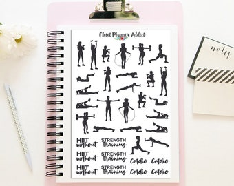 Workout Planner Stickers | HIIT Workout Stickers | Cardio Stickers | Strength Training Stickers | Exercise Stickers | Fitness (S-322)