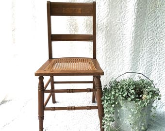 Vintage Wooden Cane Chair | Caned Bottom Wood Chair | Kitchen Chair | Farmhouse Chair | Victorian Desk Chair | Extra Seating | Hand Carved