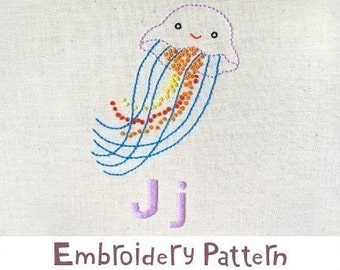 J Jellyfish INSTANT DOWNLOAD PDF embroidery pattern
