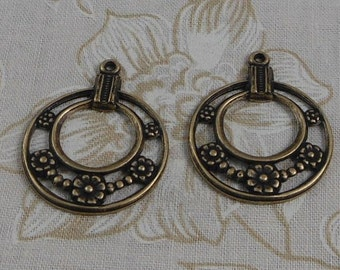LuxeOrnaments Oxidized Brass Filigree Flower Hoop Pendant (2 pcs) 30x24mm (choose finish) S-5411-B