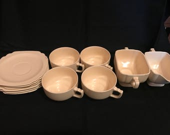 Vintage Riviera Pottery - c. 1936-1948 - mugs, saucers, cream & sugar