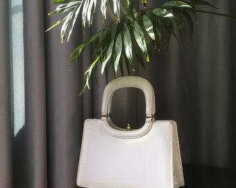 60s Vintage White Patent Leather Hand Bag by Widegate, London