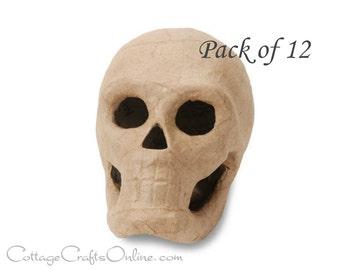 Halloween Skull 3D Paper Mache Skeleton,  5 1/2 Inches  - PACK OF TWELVE - Darice,  Day of the Dead, Halloween Decor, Wreath & Craft Supply