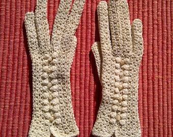 Vintage crocheted gloves gold thread beige crochet