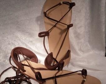 BELLA CARIBE CHOCOLATE Natural Lace Up Sandal