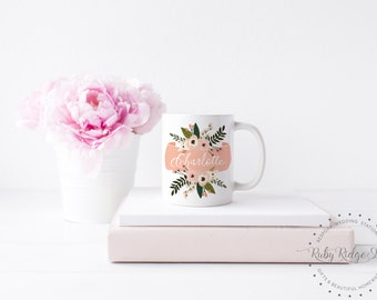 Personalized Mug | Bridesmaid Gift | Personalized Gift | Peach Floral Banner Name Mug | Custom Mug | Friend Gift | Sister Gift | Under 50