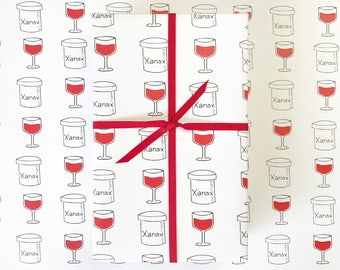Wrapping Paper, RED WINE Gift  Wrap, Funny Wrapping Paper, Funny Gift Wrap, Birthday Gift Wrap, Gift Wrap for Boyfriend, Red Wine