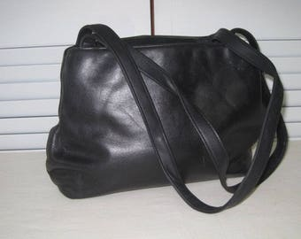 vintage 1980's Black Leather Shoulder Bag